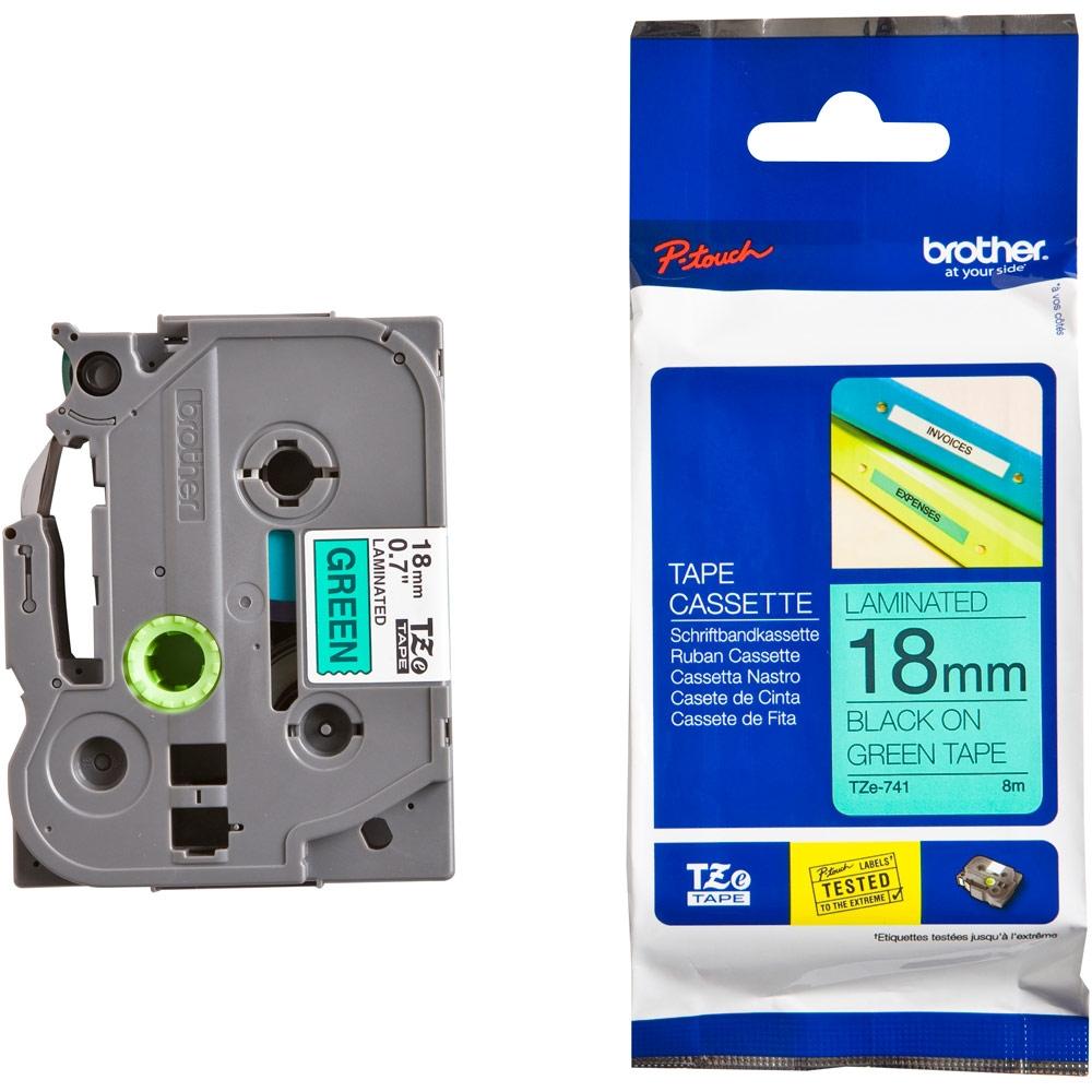Konsumativ-Brother-TZe-741-Tape-Black-on-Green-La-BROTHER-TZE741
