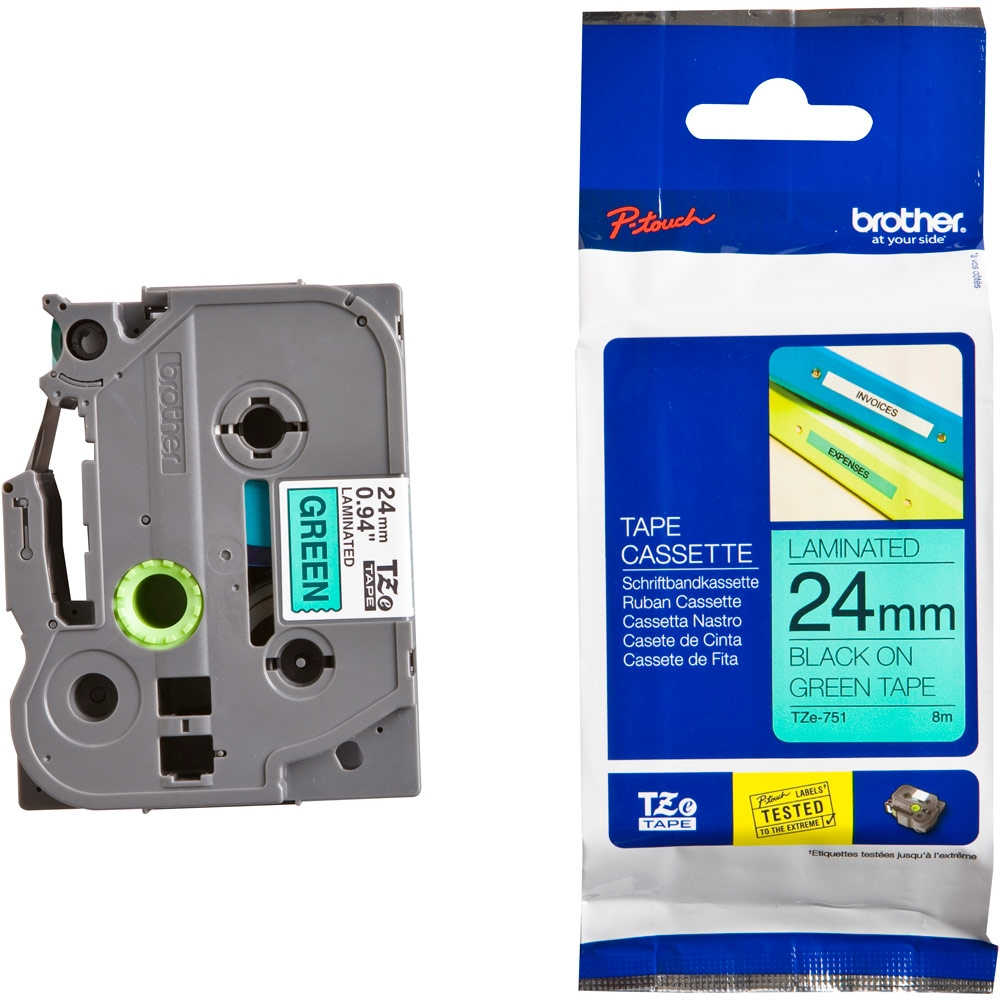 Konsumativ-Brother-TZe-751-Tape-Black-on-Green-La-BROTHER-TZE751