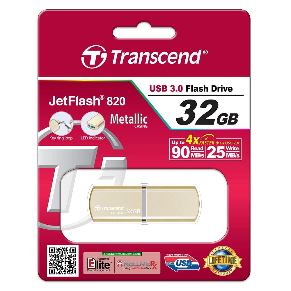 Pamet-Transcend-32GB-JETFLASH-820-USB-3-0-Gold-TRANSCEND-TS32GJF820G